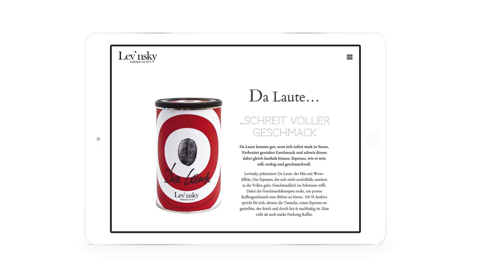 Levinsky Kaffee Website